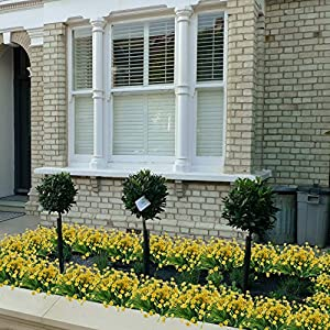 HOGADO Artificial Fake Flowers, 4pcs Faux Yellow Daffodils Greenery Shrubs Plants Plastic Bushes Indoor Outside Hanging Planter Wedding Cemetery Decor 2