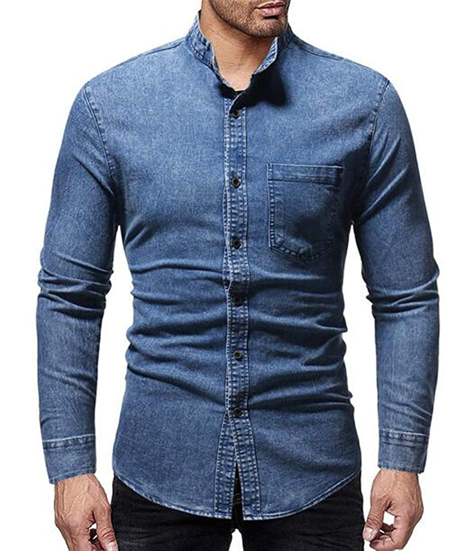 CRYYU Men Wash Stand Collar Denim Long Sleeve Long Sleeve Button Shirt Blouse Tops