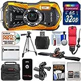 Ricoh WG-50 Waterproof/Shockproof Digital Camera (Orange) 32GB Card + Helmet & Bike Mounts + Battery + Case + Tripod + Strap Kit