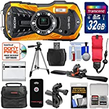 Ricoh WG-50 Waterproof/Shockproof Digital Camera (Orange) with 32GB Card + Helmet & Bike Mounts + Battery + Case + Tripod + Strap Kit