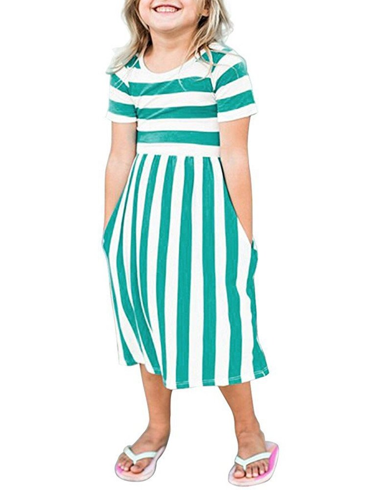 Yancorp Girl Dress Short Sleeve Casual Midi Stripe Dresses with Pockets Kids Summer Beach Fashion Wear 6T-11T (Green, L(8T-9T))