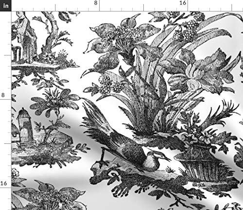 Spoonflower Chinoiserie Fabric - Vintage Toile Black White Classic and Antique Chinese Asian Art Print on Fabric by The Yard - Chiffon for Sewing Fashion Apparel Dresses Home Decor