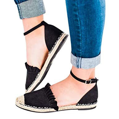 e6813eec273 Women s Buckle Ankle Strap Sandals Shoes- Casual Retro Flat Shoes Straw  Linen Ruffle Pumps Closed