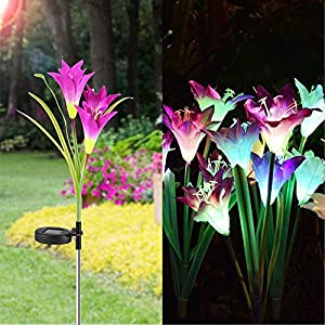 Big.Promotion 2 Pcs Lily Flower Solar Powered Garden Stake Lights Artificial Flowers LED Light 94