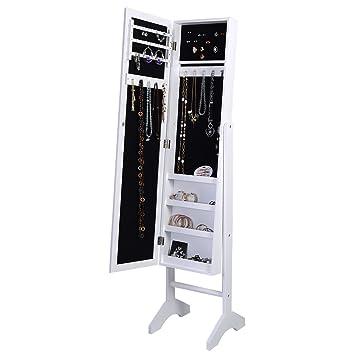 Amazoncom Giantex Jewelry Cabinet Mirrored Armoire Mirror
