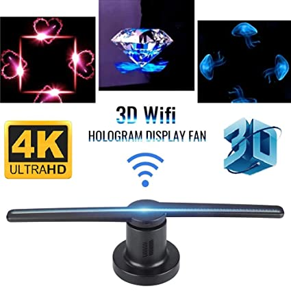 Microware LED WiFi Control 3D Hologram Fan Floating Video and Image  Advertising Display with 8GB TF Card for Store Signs/Bars/Clubs/Jewellery