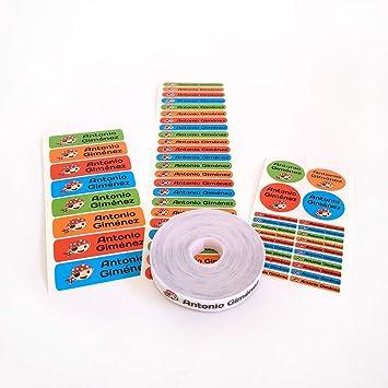 Pack 155 etiquetas personalizadas para marcar ropa y objetos. 100 Etiquetas de tela termoadhesiva + 55 etiquetas adhesivas de vinilo.