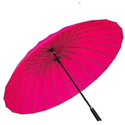 Paraguas Paraguas 24 Hueso Llanura Paraguas Largo Color Puro Prevención de Tormenta Vintage Paraguas Recto 100cm