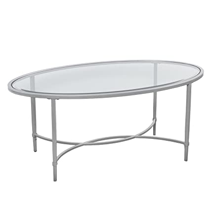 Round Metal And Glass Coffee Table, Oval Cocktail Table, Silver