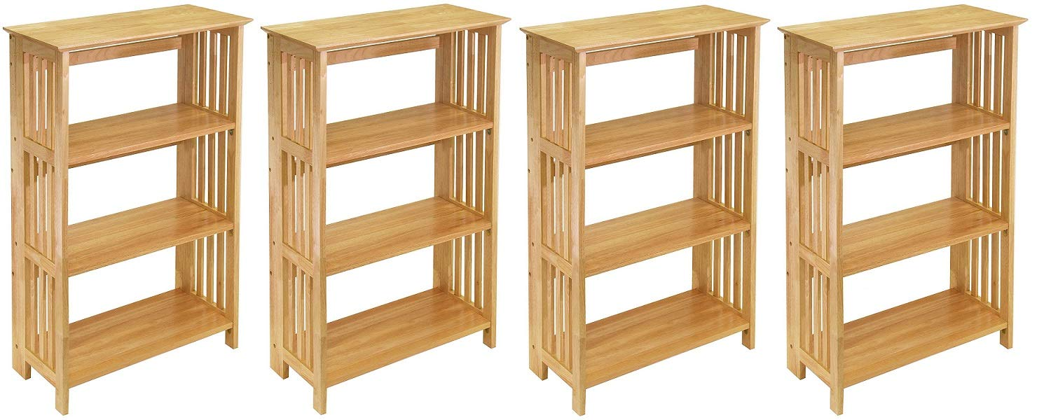 Winsome Wood Foldable 4-Tier Shelf, Natural (Pack of 4) - 4-tier foldable shelf is lightweight for easy moving and stores flat Crafted of solid beechwood with natural finish Mission-style slatted sides and open back offer light, airy look - living-room-furniture, living-room, bookcases-bookshelves - 61NYI6qREbL -