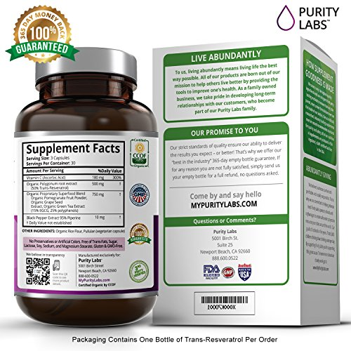 Certified Organic Trans-Resveratrol Anti-Aging Superfood Supplement 1400mg Per Serving - 90 Veggie Capsules with Green Tea Pomegranate Grape Seed Extract and Antioxidant Vitamin C Discount