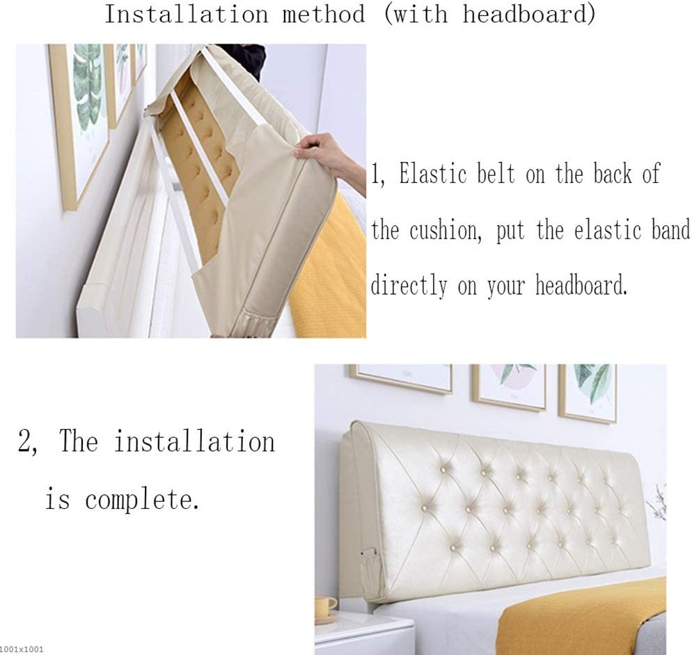 Easy to Install Color : White, Size : No headboard-120cm Washable LXLIGHTS Headboard Bedside Cushion Bed Wedge Backrest Waist Pad Bay Window Home Hotel
