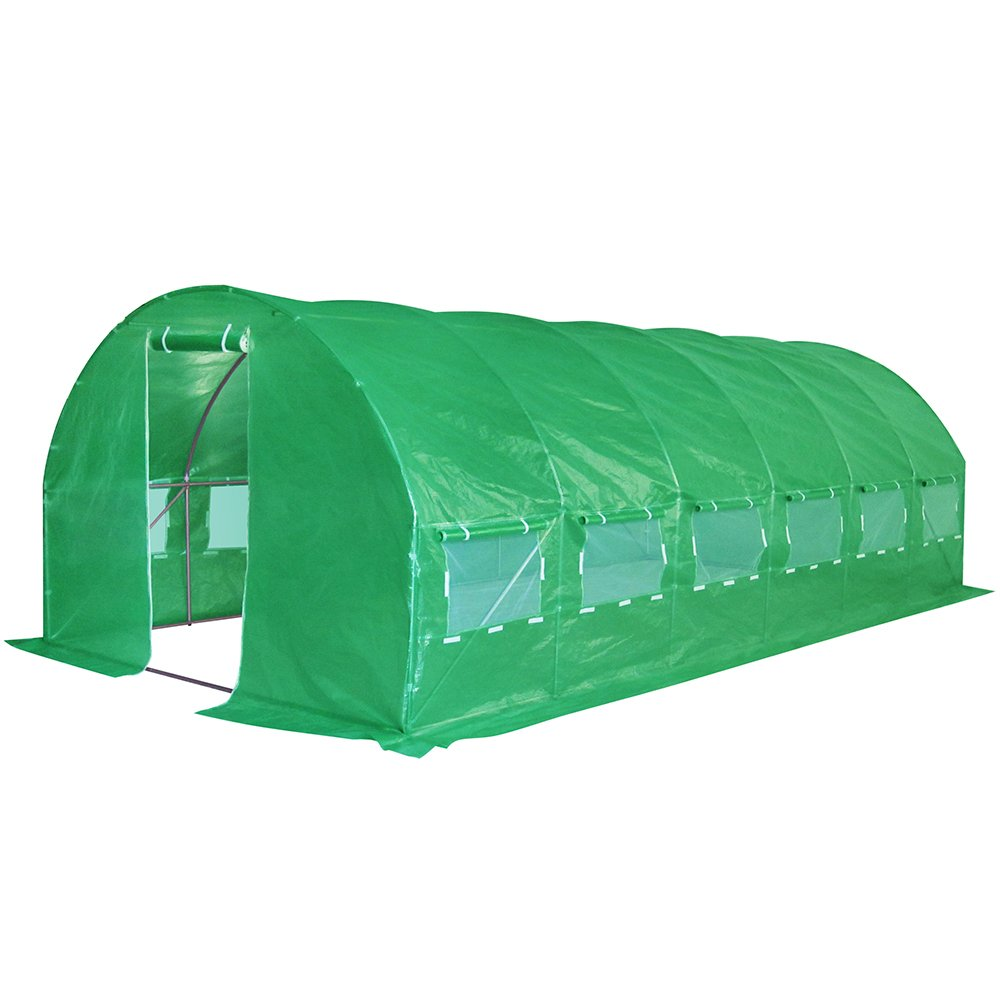Quictent Galvanised 2 Doors 20 X 10 X 7 Ft Portable Greenhouse Large Walk-in Tunnel Green Garden Hot House