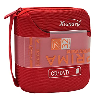 Xiongye 32 Disc CD DVD Storage Organizer Holder Case Bag Portable Wallet Album Box Double Side CD Bag (Red): Automotive