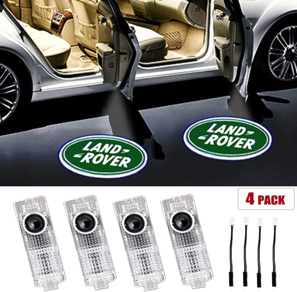 For Land Rover Car Door LED Logo Lights, 3D Ghost Shadow Light Wireless Welcome Courtesy Projector Light Fit for Land Rover Range Rover 2010-2020 Land Rover Evoque Freelander 2(4PCS)