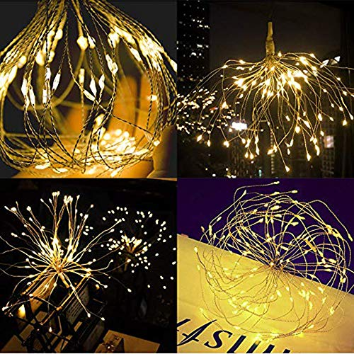 Solar String Lights, Solar Powered Copper Wire Fireworks String Light Outdoor Waterproof Starry Fairy Lights Decorative Lighting for Christmas, Holiday Party, Wedding, Garden, Home Decor (Yellow) from FunDiscount Shop