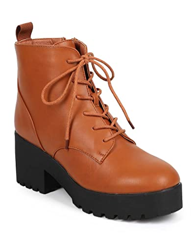 921f31eff177 Women Leatherette Lug Sole Chunky Heel Lace Up Combat Boot DB28 - Whiskey  (Size