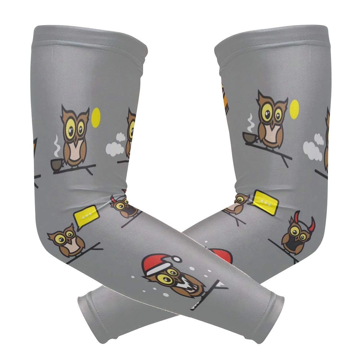 Arm Sleeves Colorful Owl Man Baseball Long Cooling Sleeves Sun UV Compression Arm Covers