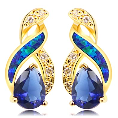 91694cee05b89 Amazon.com: Sinlifu Silver Plated Earrings Fire Blue White Opal With ...