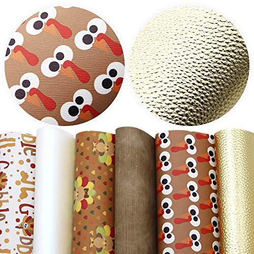 [해외]David Accessories 칠면조 프린트 인조 가죽 직물 시트 6 피스 7.8 x 13.3 (20 cm x 34 cm) DIY 리본 귀걸이 만들기 공예용 3 가지 가죽 패브릭 포함 / David accessories Fall Printed Faux Leather Fabric Sheets 6 Pcs 7.8 x 13.3 (20 cm x 34 cm...