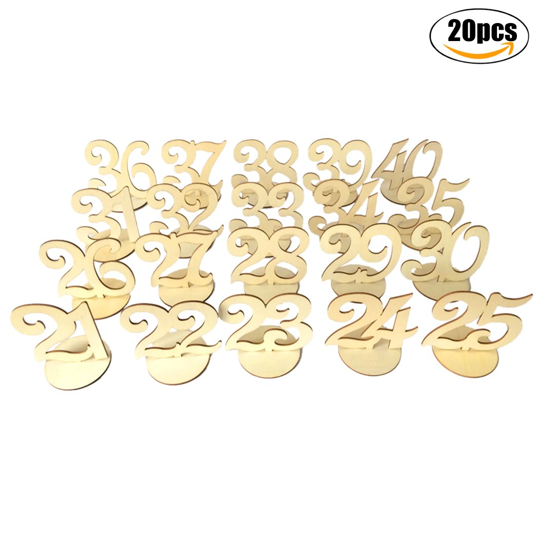 Coxeer Table Number Set, 20PCS Wooden Table Number Wedding Party Favors with Base Holder