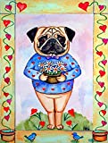 Caroline's Treasures 7132CHF Pug Valentine's Hearts Flag Canvas, Large, Multicolor