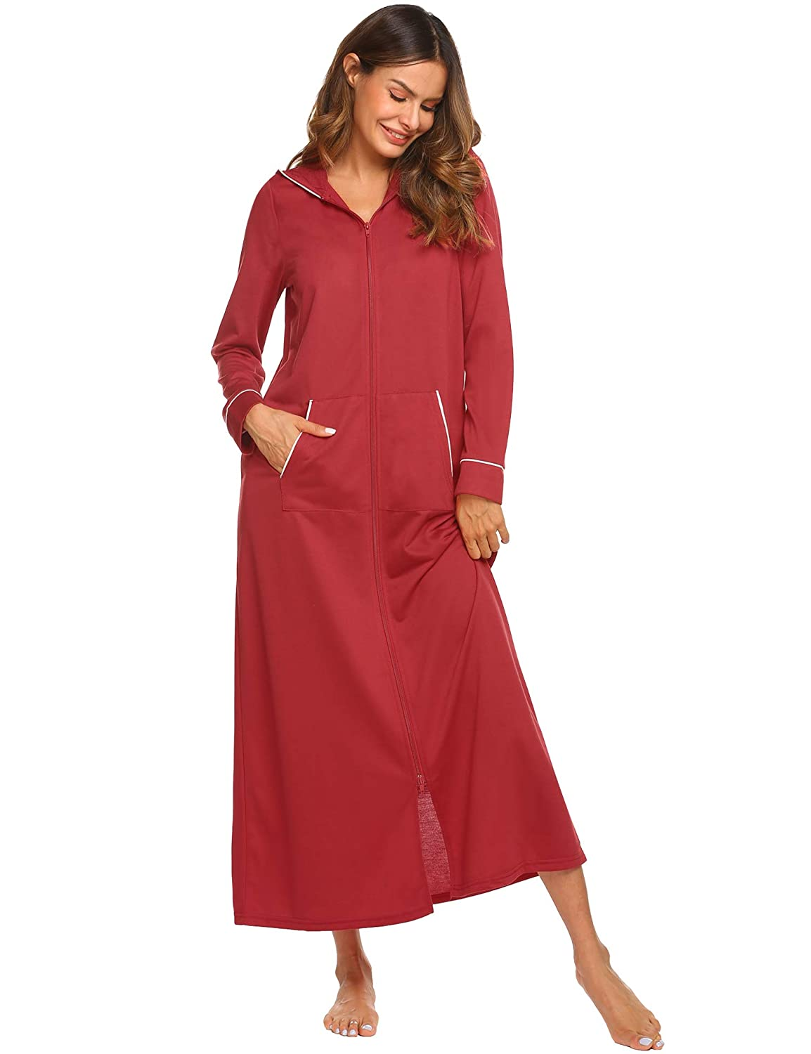 c84474d53c Ekouaer Hooded Zipper Robe Nightgowns Long Sleeve Cotton Sleepwear for Women  Plus Size S-2XL at Amazon Women s Clothing store