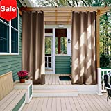 NICETOWN Outdoor Curtain Panel for Patio - Grommet Top Thermal Insulated Blackout Outdoor Curtain/Drape for Patio/Front Porch (52 Inch Wide by 108 Inch Long, Tan-Khaki)