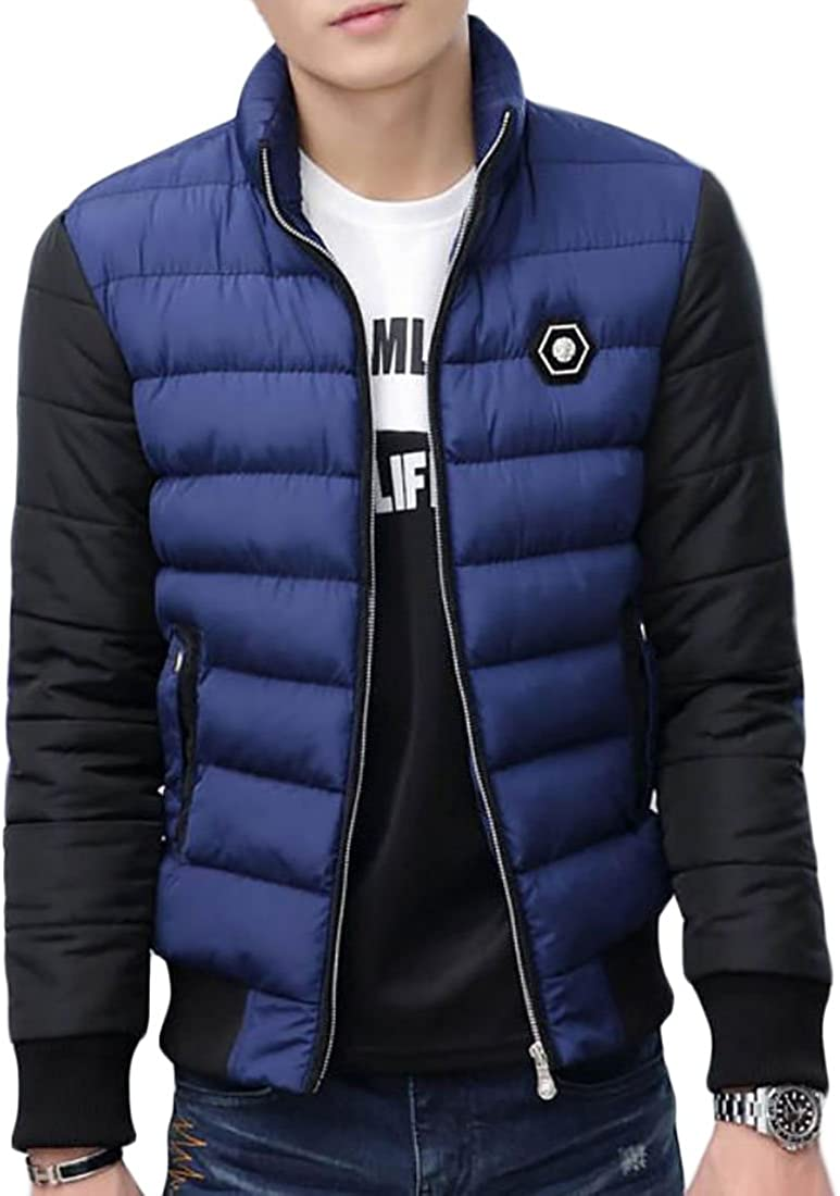 KXP Mens Color Block Warm Thicken Cotton Quilted Down Parka Coat Dark Blue L