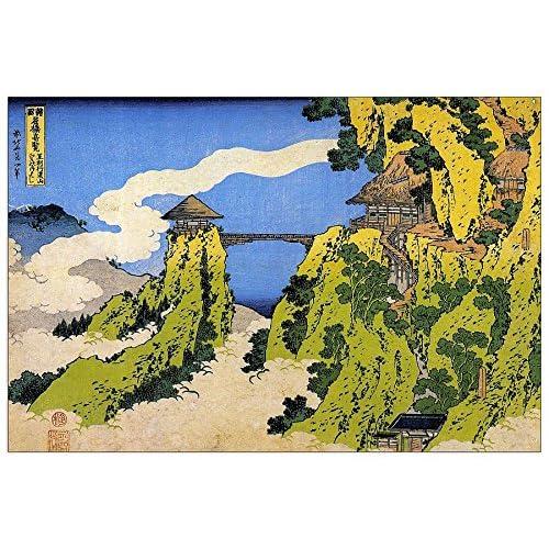 ArtPlaza Hokusai Katsushika -Temple Bridge Panneau Décoratif, Bois, Multicolore, 135 x 1,8 x 90 cm