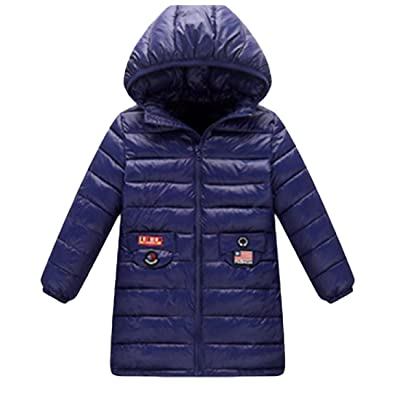 Abetteric Kids Classic Solid Hoodie Lightweight Mid-long Thick Coat