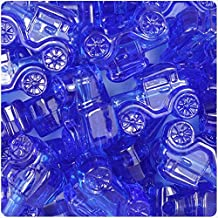BeadTin Dark Sapphire Transparent 25mm Car Pony Beads (24pcs)