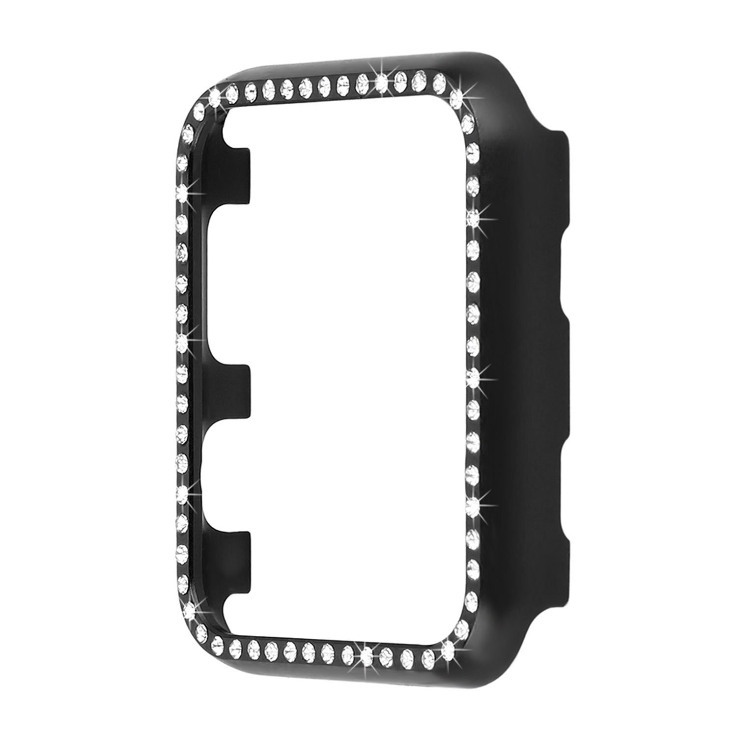 Compatible for Apple Watch 44mm Case Series 4 Bling, Women Girls Ladies Diamond Rhinestones Glitter Metal Watch Frame Cover Protective Shell Bumper Watch Case for 44mm iWatch SE Series 5/6 - Black