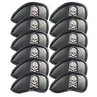 SummerHouse 12 Pcs Waterproof Golf Iron Head Covers 3-9 A/S/P/Lw/Lw Oversize Soft Pu fit Taylormade M1 Callaway Titleist AP2 Ping G Cobra PXG 0311/0311T etc Iron Sets Head