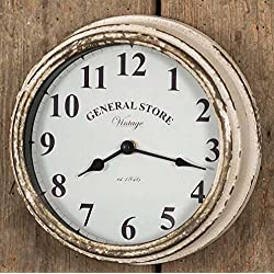 Colonial Tin Works Rustic General Store Wall Clock,Distressed White