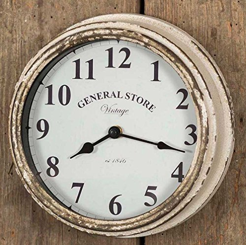 Colonial Tin Works Rustic General Store Wall Clock,Distressed White - Clock Wall Clock Battery Operated Clock - wall-clocks, living-room-decor, living-room - 61NYO1j1ksL -