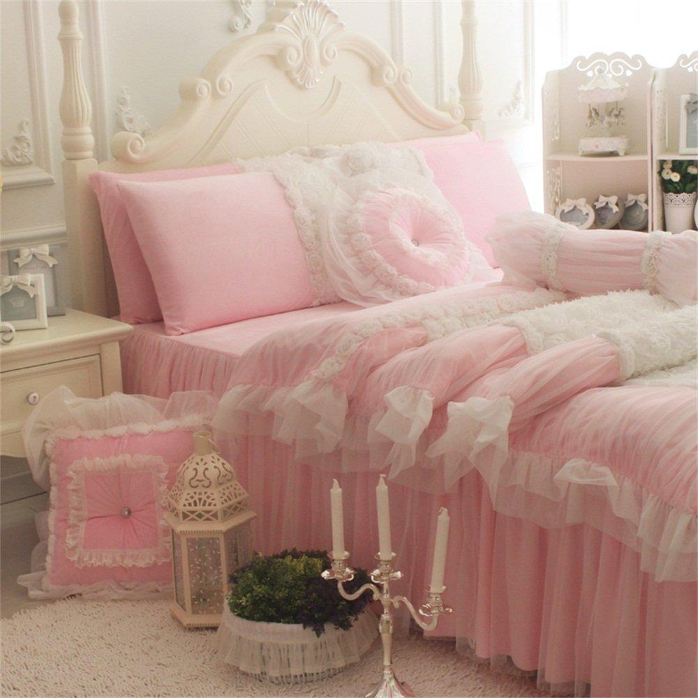 FADFAY White Lace Ruffle Bedding Set, Flannel Bedding Duvet Cover Set Luxury Korean Rose Bedding Cozy Short Plush Microfiber Cute Girls Fairy Princess Romantic Love Wedding Bedding 7Pcs Pink King