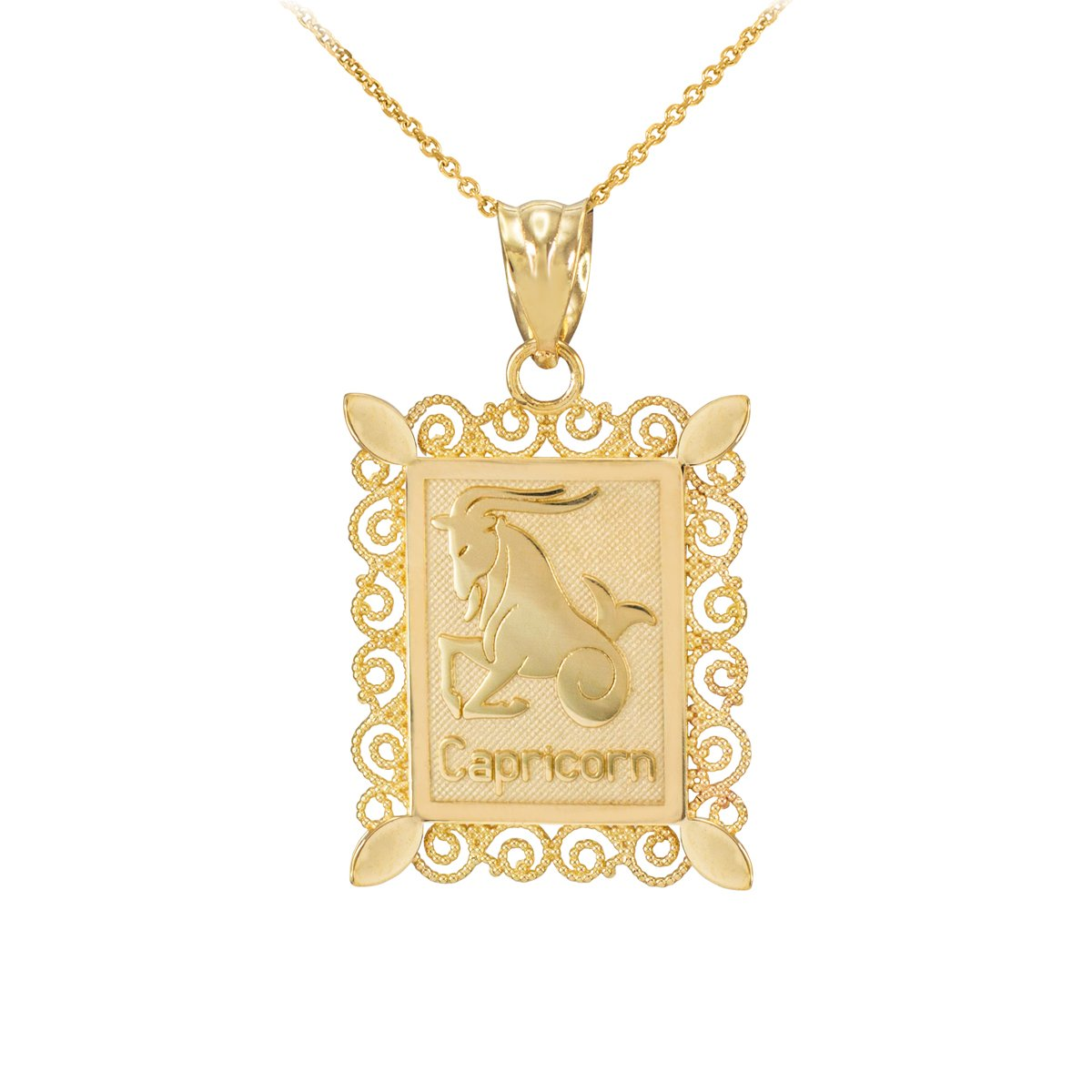 Fine 10k Yellow Gold Filigree-Style Rectangular Frame Capricorn Zodiac Sign Pendant Necklace, 20'' by Astrology Jewelry
