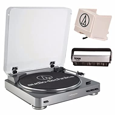 Audio Technica AT-LP60USB Fully Automatic Belt Driven Turntable w/ USB Port, Extra Stylus & Knox Cleaning Brush