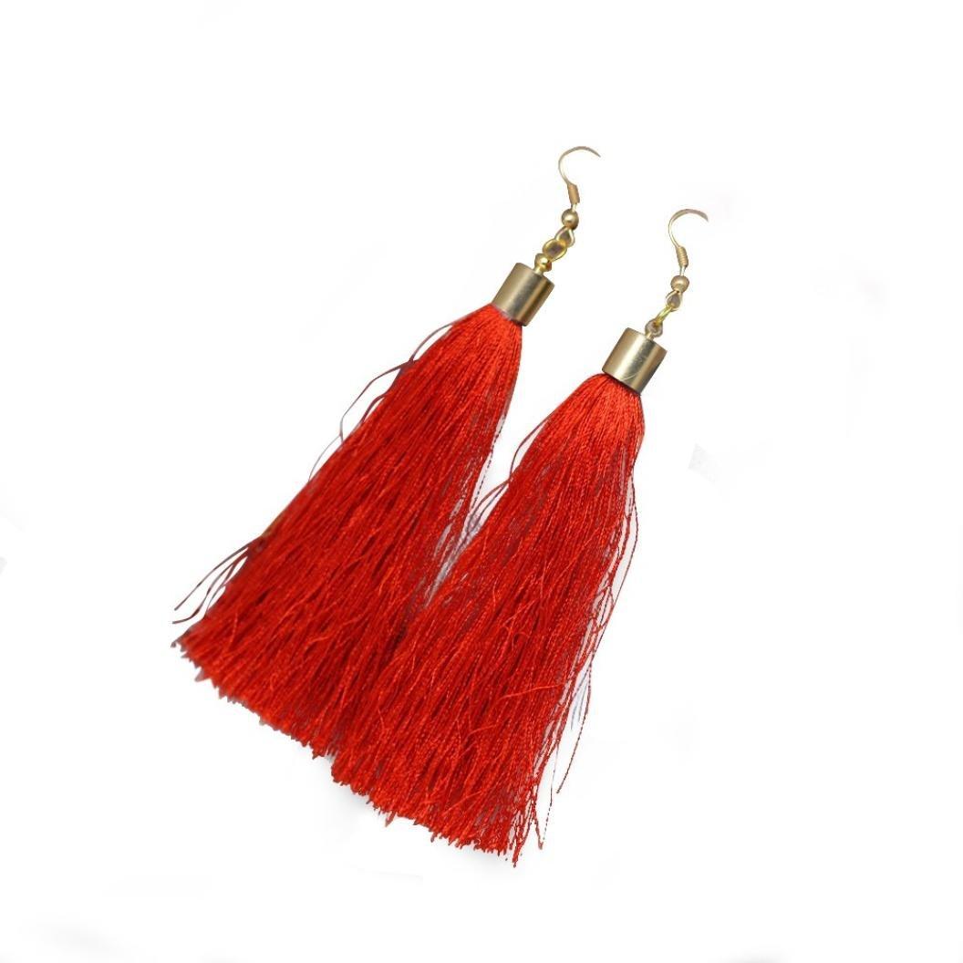 Minshao Women Long Tassel Fringe Boho Dangle Earrings (Pink)