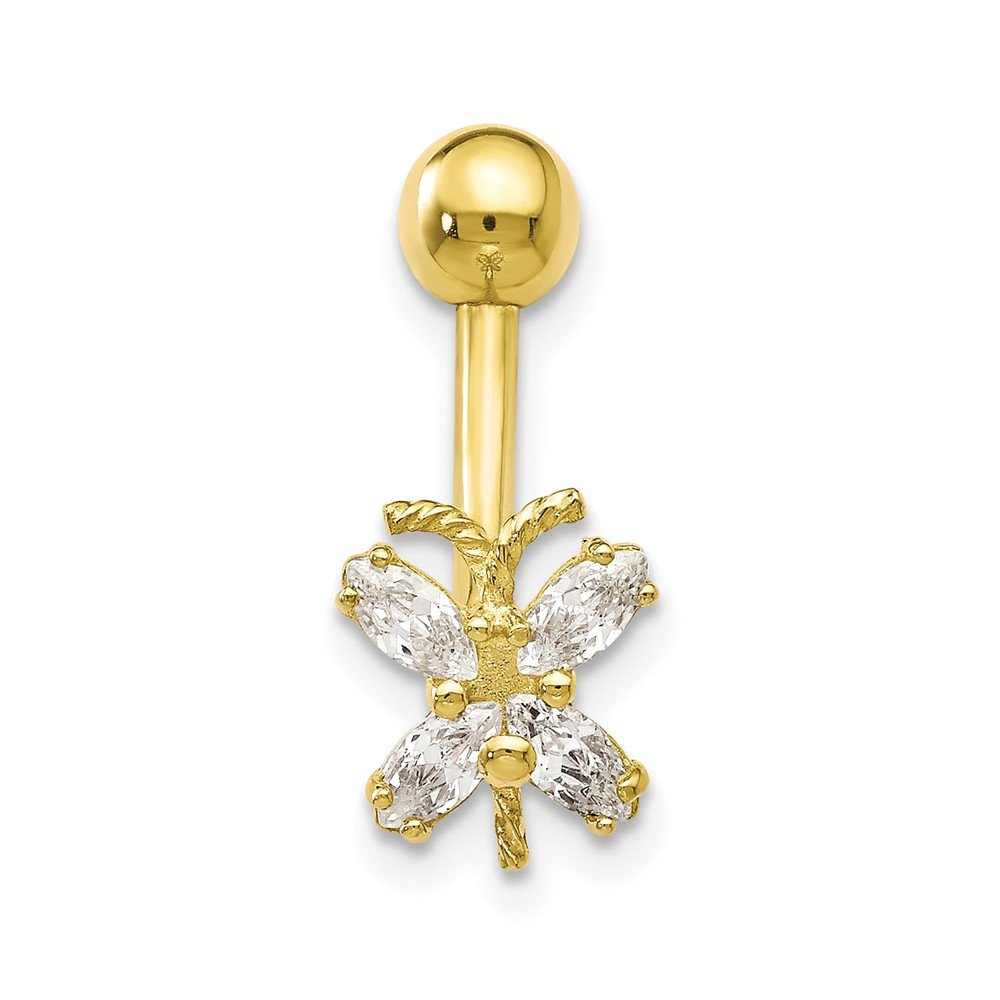 10k Yellow Gold Polished Open back Screw back With Cubic Zirconia Butterfly Belly Ring Dangle