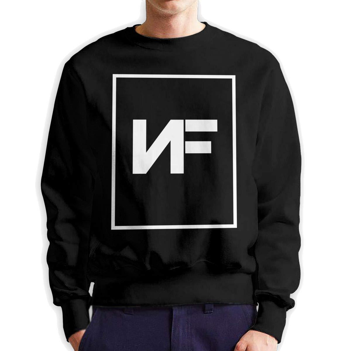 sretinez Men NF American Rapper Cotton Crew Neck Fleeces Sweatshirt Black