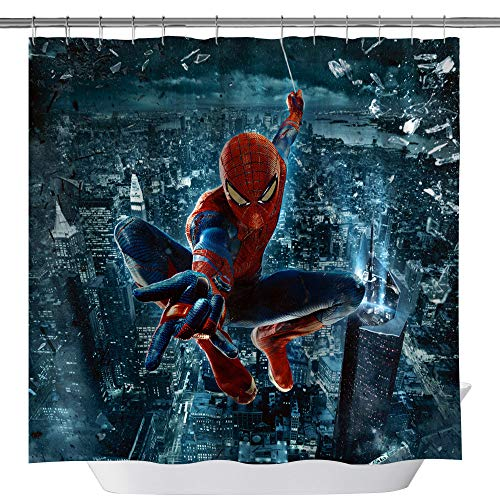 (GOODCARE Superhero Spiderman Shower Curtain for Bathroom City Hero, Waterproof Fabric Shower Curtains, Hero Theme Shower Curtain Set Including Hooks, 71x71inch)