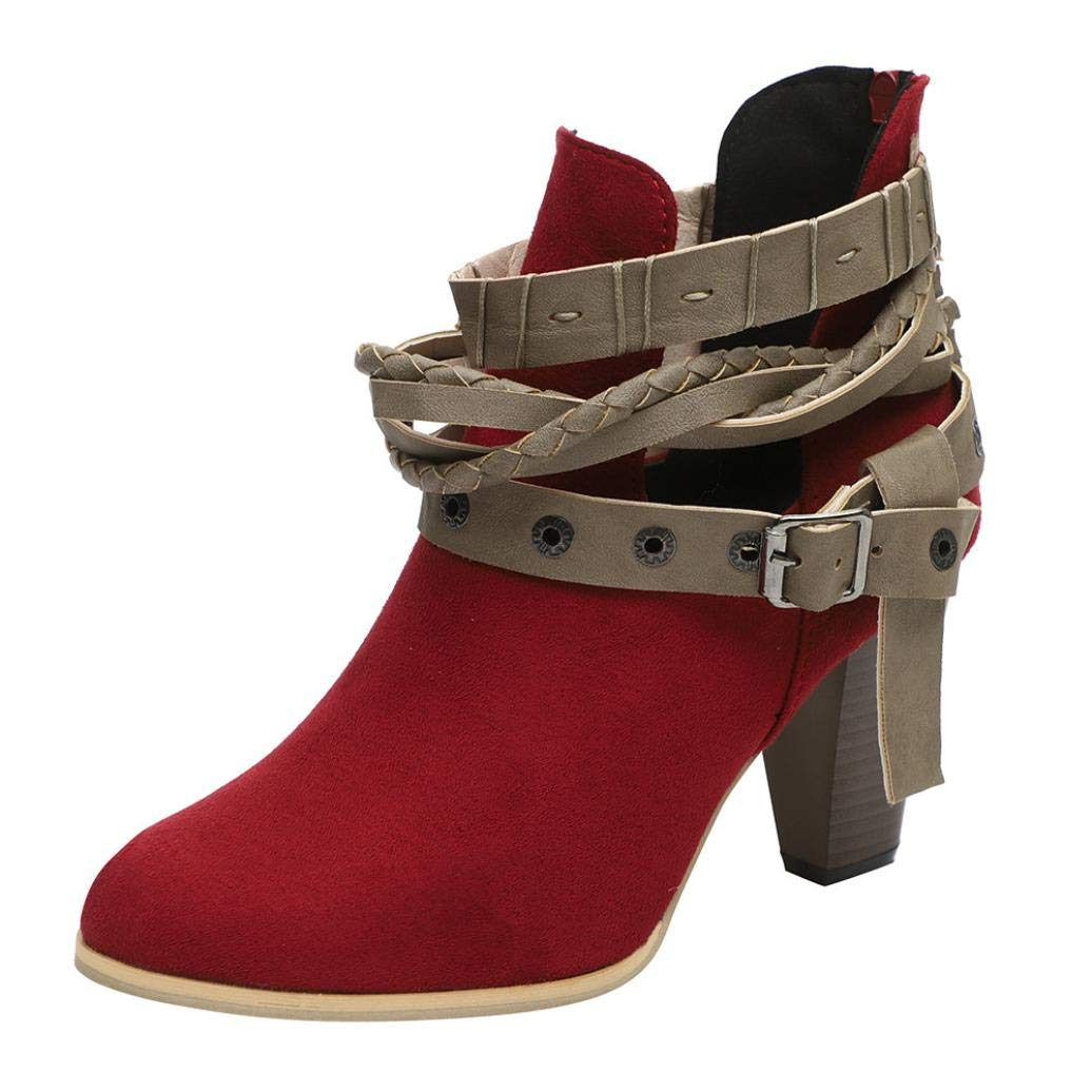 Limsea 2018 Women Martin Ankle ShOranget Booties Leather Knight Ladies Boots Shoes (Red,9.5)