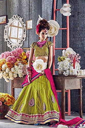 IWS Womens Green Color Striking Lehenga Choli With Crystals Stones Work 79951