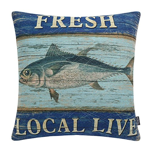 TRENDIN Vintage Fresh Local Live Fish Style Cotton Linen Square Decor Throw Pillow Covers, 18 x 18 Inches PL206TR