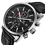 Men's Watch Multifunctional Quartz Chronograph Business Sport Leather Strap Wristwatch