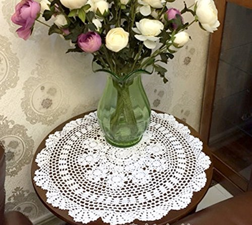 Laivigo New Handmade Crochet Cotton Lace Round Table Cloth Doilies Doily,22 Inch,White