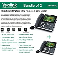2 Pack of Yealink SIP-T48G Gbit VoIP Phone Ultra-Elegant Touchscreen