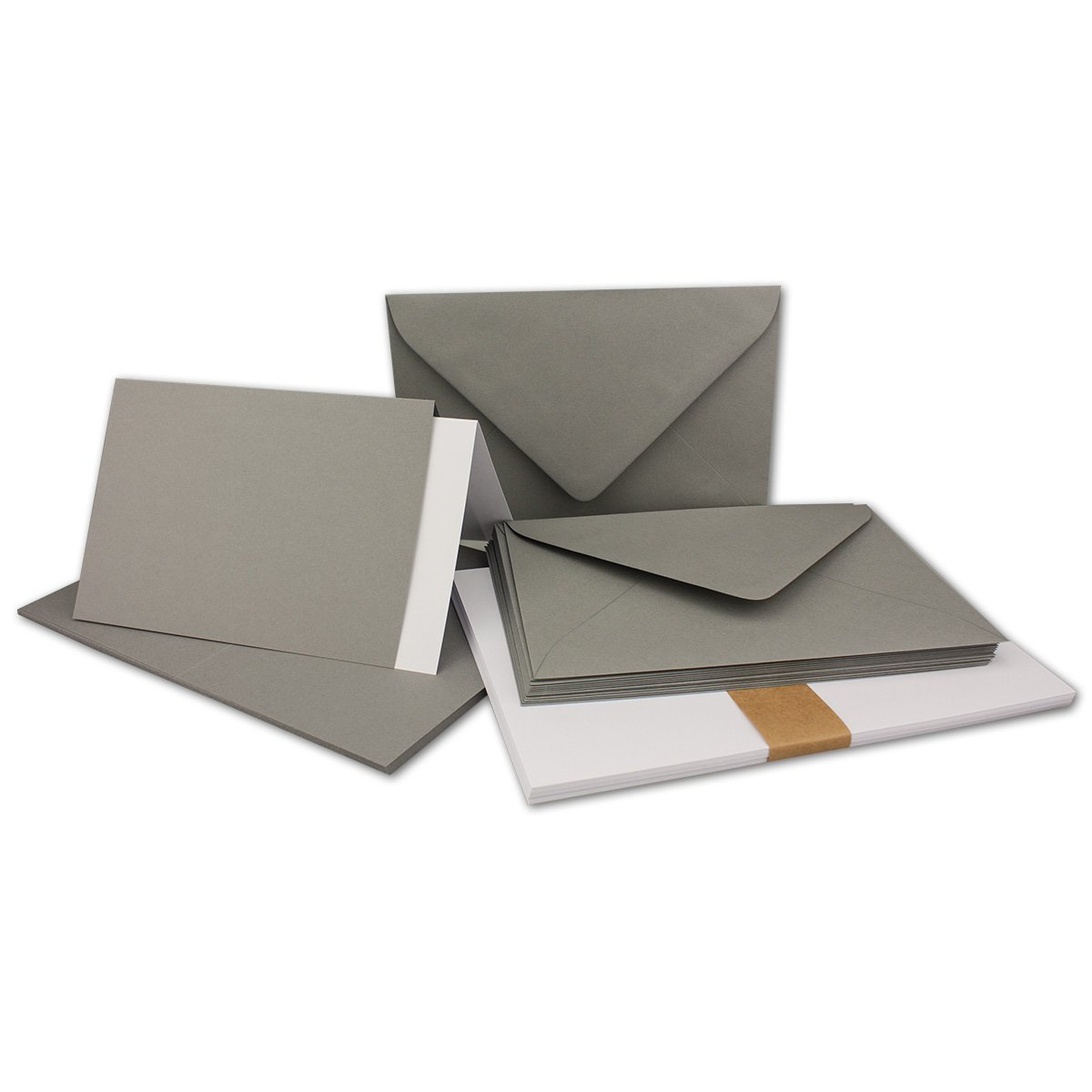 150 Sets - Faltkarten Hellgrau - DIN A5  Umschläge  Einlegeblätter DIN C5 - PREMIUM QUALITÄT - sehr formstabil - Qualitätsmarke  NEUSER FarbenFroh B07C2ZZ5H8 | Starker Wert
